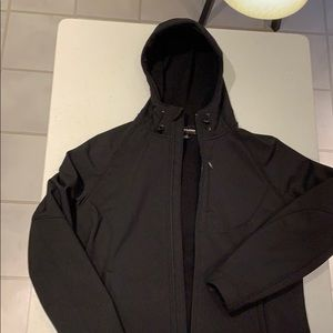 Black mid-weight hooded lined jacket. Size L